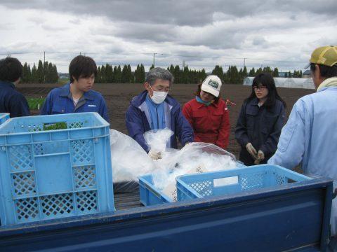 岩谷先生から施肥試験用肥料の説明