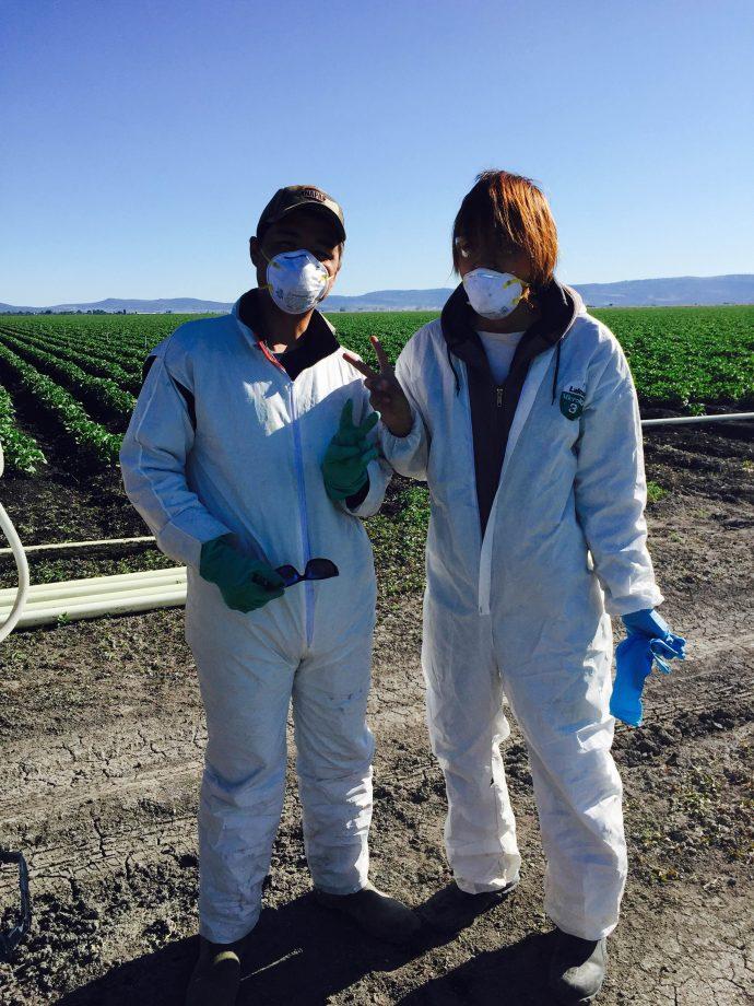 【画像】農薬防除中の新人研修生と坂本君