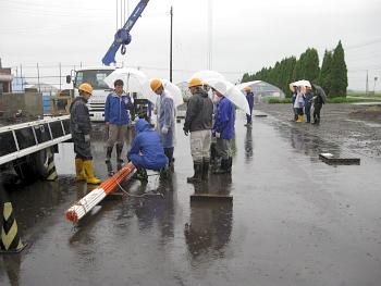 3日目の実技の練習は雨の中での練習となりました