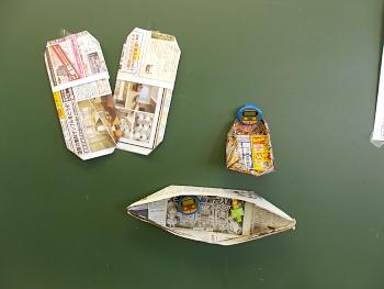 新聞紙と広告用紙で作ったお皿です