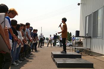 環境農学コース2年島田君の歓迎の挨拶